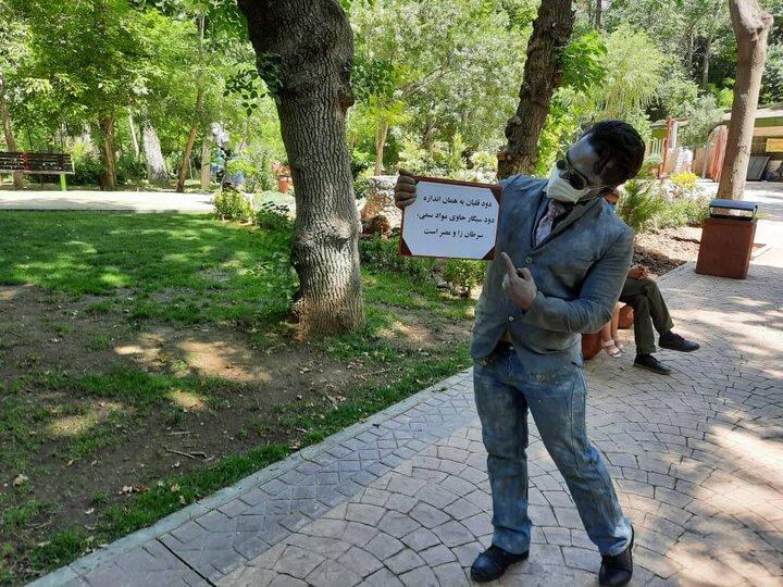 نمایش مرد نقره ای با پیام ترک سیگار و قلیان در بوستان بدون دخانیات قیطریه