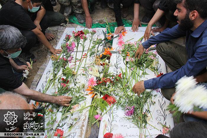 مراسم تشییع پیکر دو شهید گمنام دفاع مقدس در منطقه ۱۸ تهران برگزار شد