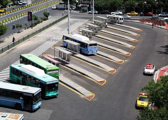 جانمایی ایستگاه های اتوبوس انقلاب در پایانه کاوه