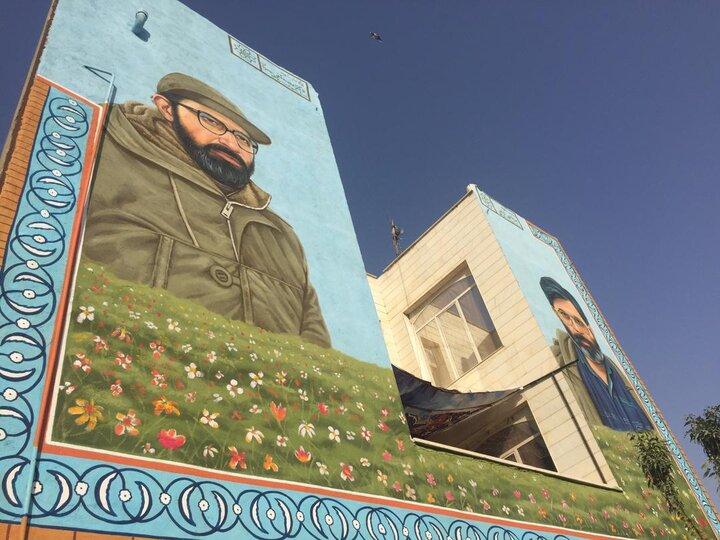احیای نقاشی دیواری شهید چمران و آوینی در منطقه ۲۰