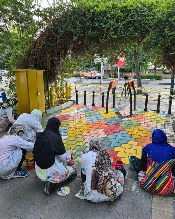 اجرای طرح گلیم در پیاده روهای منطقه ۷