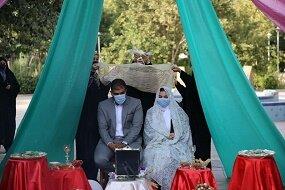 مراسم ازدواج آسان زوج جوان در حرم شهدای گمنام خزانه